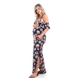 d00c70e070e9 Mother Bee Maternity Dresses - Navy floral Cold Shoulder Maternity Dress